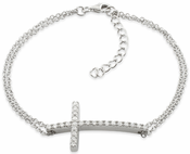 Sterling Silver Cross CZ Bracelet