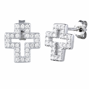 Sterling Silver Cross CZ Earrings
