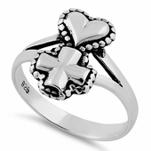 Sterling Silver Cross Heart Ring