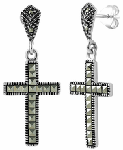 Sterling Silver Cross Marcasite Earrings