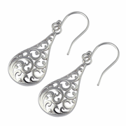 Sterling Silver Curly Wave Hook Earrings