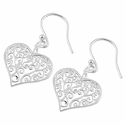 Sterling Silver Curly Heart Hook Earrings