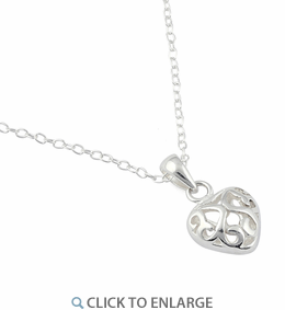 Sterling Silver Curly Heart Necklace
