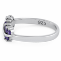 Sterling Silver Curve Amethyst CZ Ring