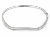 Sterling Silver Curve Pave CZ Bangle Bracelet