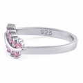Sterling Silver Curve Pink CZ Ring