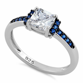 Sterling Silver Cushion Blue Spinel Clear CZ Ring