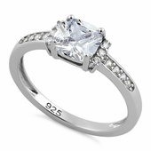 Sterling Silver Cushion Clear CZ Ring