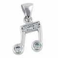 Sterling Silver CZ Music Note Pendant