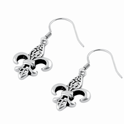 Sterling Silver Dangling Fleur de Lis Earrings