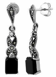 Sterling Silver Dangling Rectangular Black Onyx Marcasite Earrings