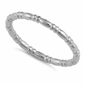 Sterling Silver Danity Bead & Bar Band