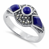 Sterling Silver Blue Lapis Round Halo Marcasite Ring