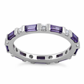 Sterling Silver Dark Violet and White CZ Eternity Ring