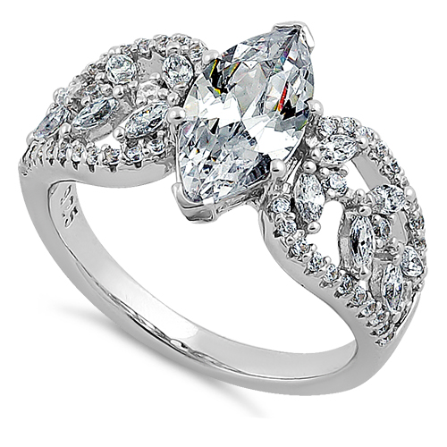 Marquise Cut Enement Rings | Sterling Silver Decorative Marquise Cut Clear Cz Engagement Ring