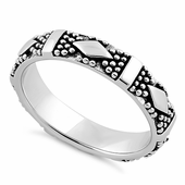 Sterling Silver Diamond Pebbles Band Ring