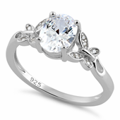 Sterling Silver Double Butterfly Clear Center Stone CZ Ring
