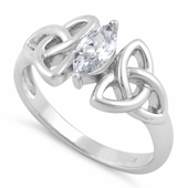 Sterling Silver Double Triquetra Charmed Marquise CZ Ring