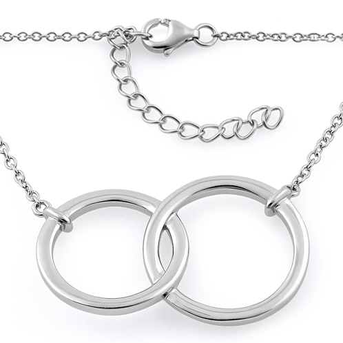 Sterling silver double circle necklace aloadofball Images