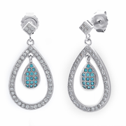 Sterling Silver Double Drop Blue Topaz CZ Dangle Earrings