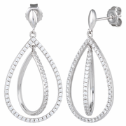 Sterling Silver Double Drop CZ Dangle Earrings