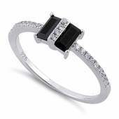 Sterling Silver Double Baguette Straight Cut Black & Clear CZ Ring