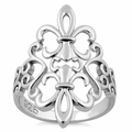 Sterling Silver Double Fleur de Lis Heart Ring