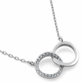 Sterling Silver Double Halo CZ Necklace