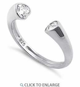 Sterling Silver Double Heart Clear CZ Ring