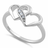 Sterling Silver Double Heart CZ Ring