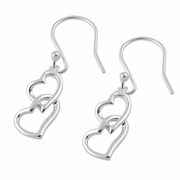 Sterling Silver Double Heart Hook Earrings