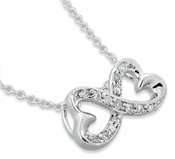 """Sterling Silver Double Heart Pendant & 18"""" Necklace"""