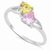 Sterling Silver Double Heart Pink & Golden CZ Ring