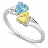 Sterling Silver Double Heart Yellow & Blue Topaz CZ Ring