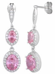 Sterling Silver Double Oval Drop Pink CZ Earrings