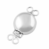 Sterling Silver Double Ring Pearl Clasp 9mm