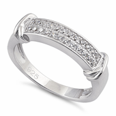 Sterling Silver Double Row Round Clear CZ Ring