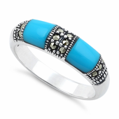 Sterling Silver Double Synthetic Turquoise Onyx Marcasite Ring