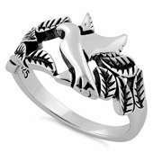 Sterling Silver Dove Leaves Ring
