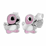 Sterling Silver Pink Enamel Duck Earrings