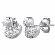 Sterling Silver Duckling CZ Earrings