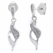 Sterling Silver Elegant CZ Dangle Earrings