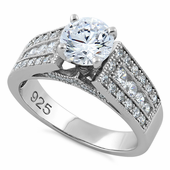 Sterling Silver Elegant Engagement CZ Ring