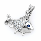 Sterling Silver Elegant Fish Blue Spinel CZ Pendant