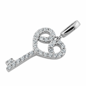 Sterling Silver Elegant Heart Key Clear CZ Pendant