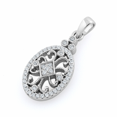 Sterling Silver Elegant Antique CZ Pendant