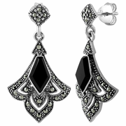 Sterling Silver Elegant Kite Drop Black Onyx Marcasite Earrings