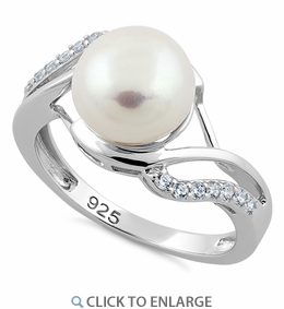 Sterling Silver Elegant Pearl CZ Ring