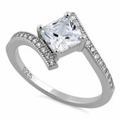 Sterling Silver Elegant Princess Cut Clear CZ Ring