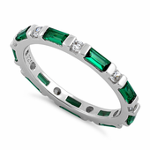 Sterling Silver Emerald and White CZ Eternity Ring